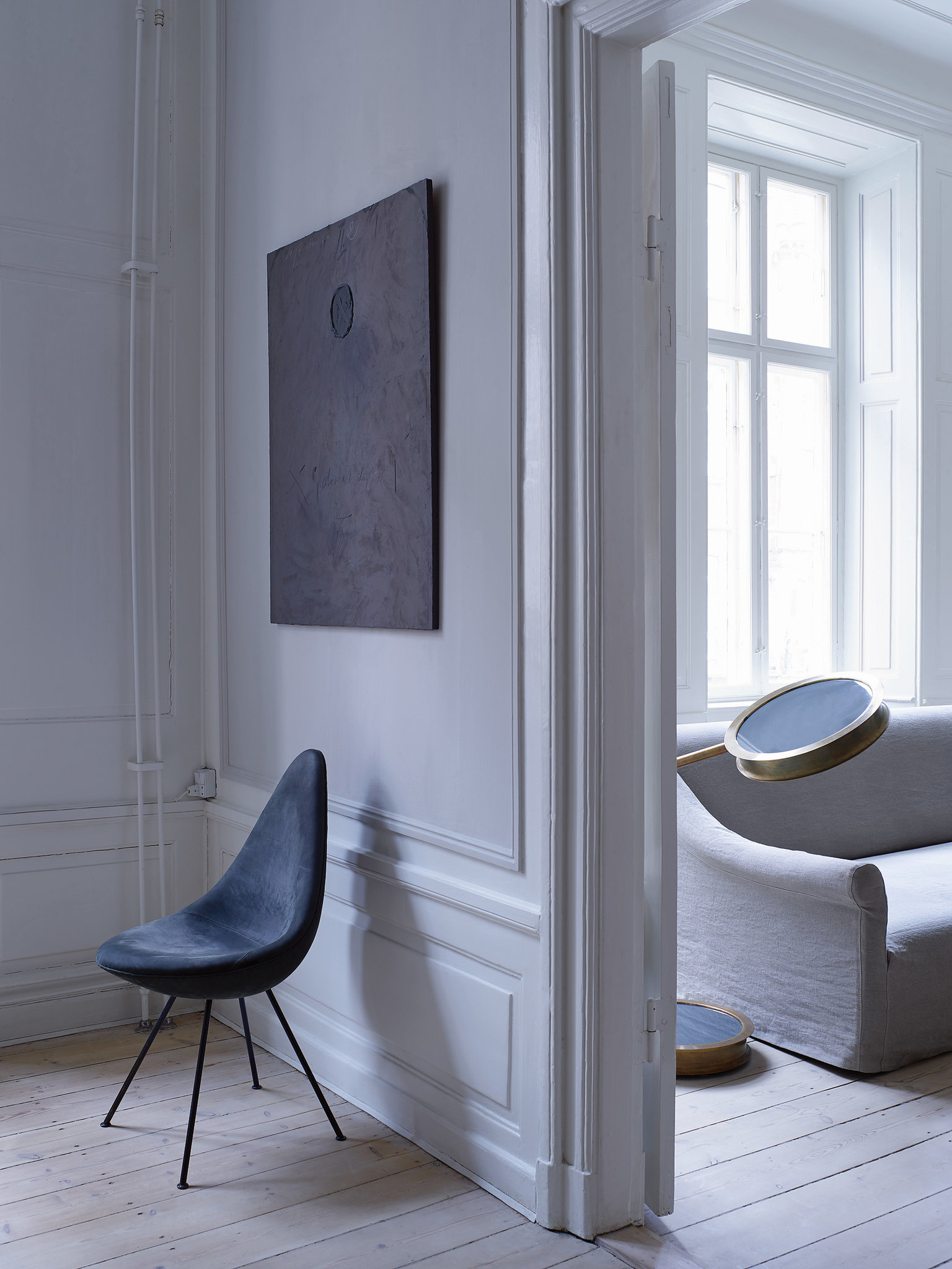 Gustav designed this special edition Arne Jacobsen drop chair in gray nubuck.