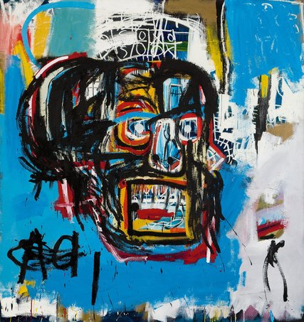 """""""Untitled,""""  Jean-Michel Basquiat's 1982 painting of a skull bought by Yusaku Maezawa for $110.5 million at Sotheby's contemporary art auction in New York. Credit 2017 - The Estate of Jean-Michel Basquiat/ADAGP, Paris, via ARS, via Sotheby's"""