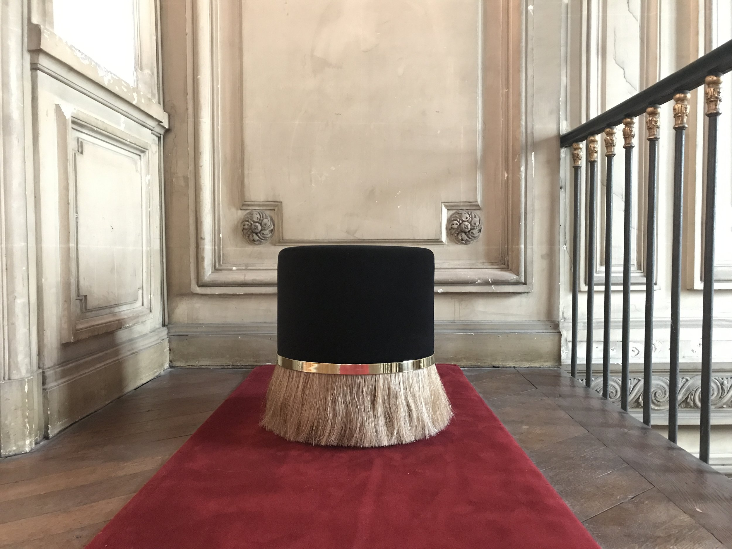 Helena Sultan's  Thing Stool 3  on exhibition at Galerie SORS in Paris - flaxen sorrel horse hair weft, brass ring and cotton velvet upholstery. More info, contact   info@sorsparis.com