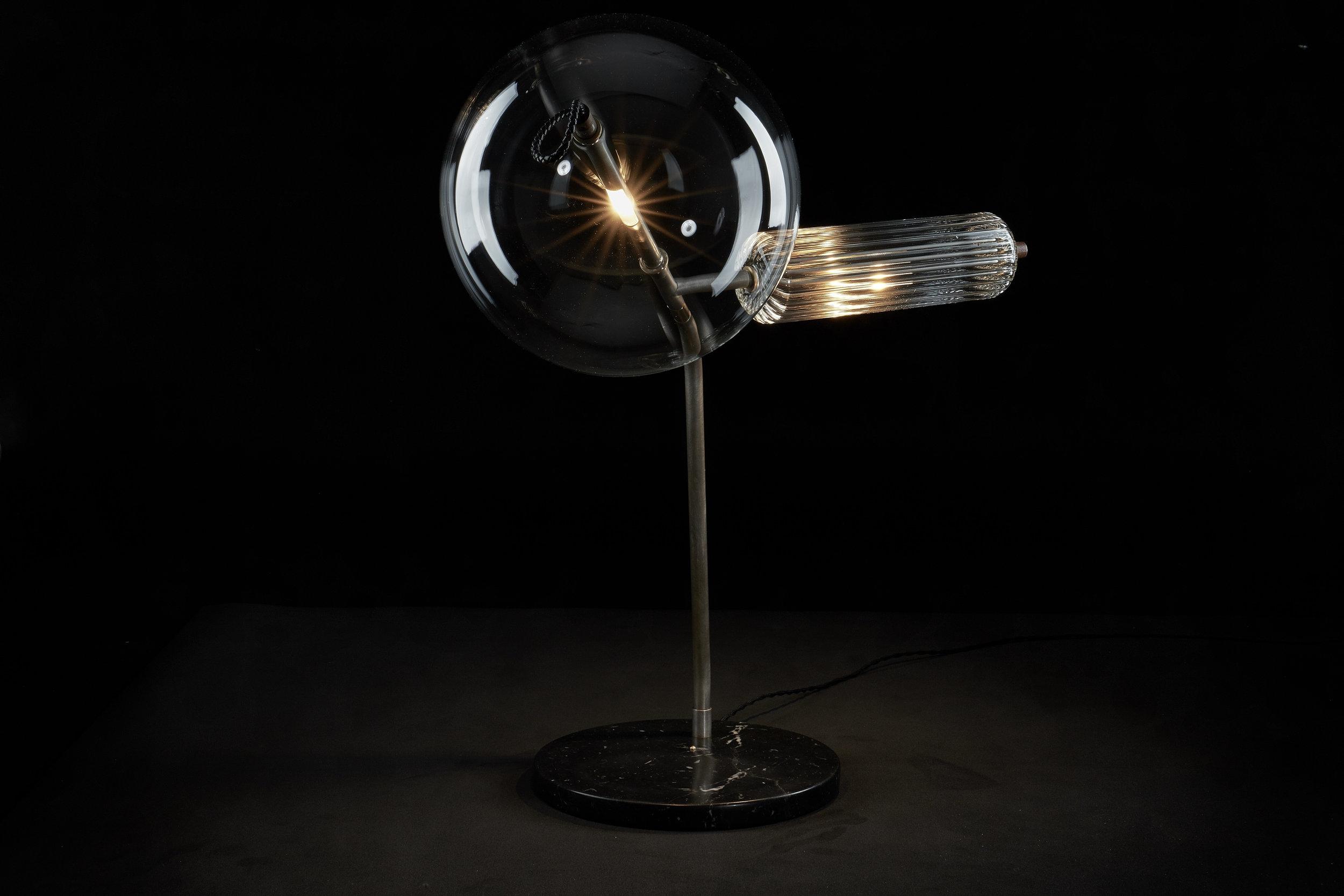 T-Double Silver Table Lamp by SIlvioMondinoStudio for Galerie SORS.