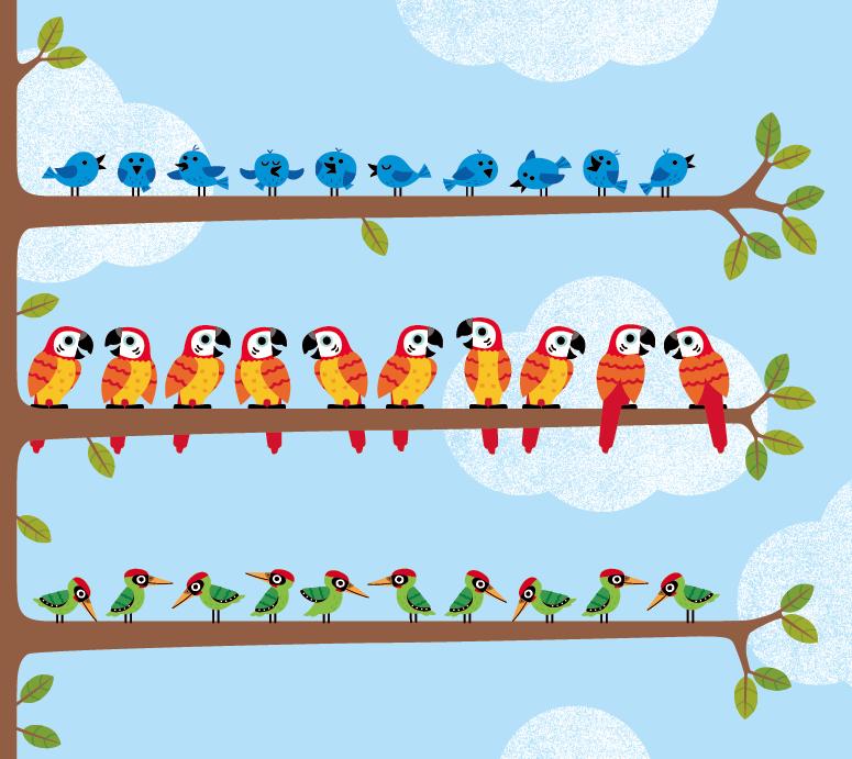 Birds in a tree, Ian Cunliffe