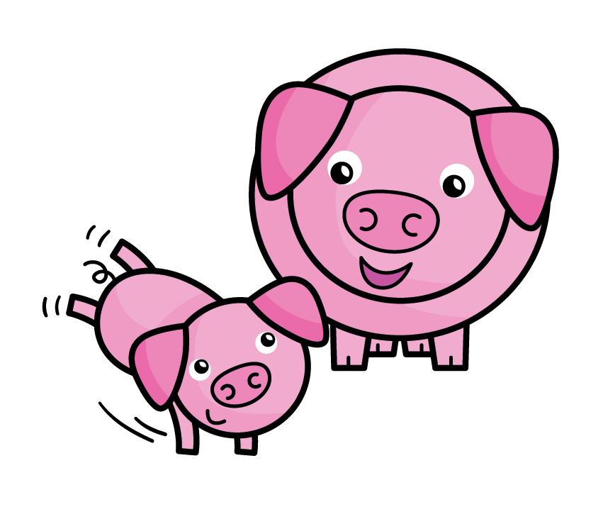 Pigs, mum and piglet