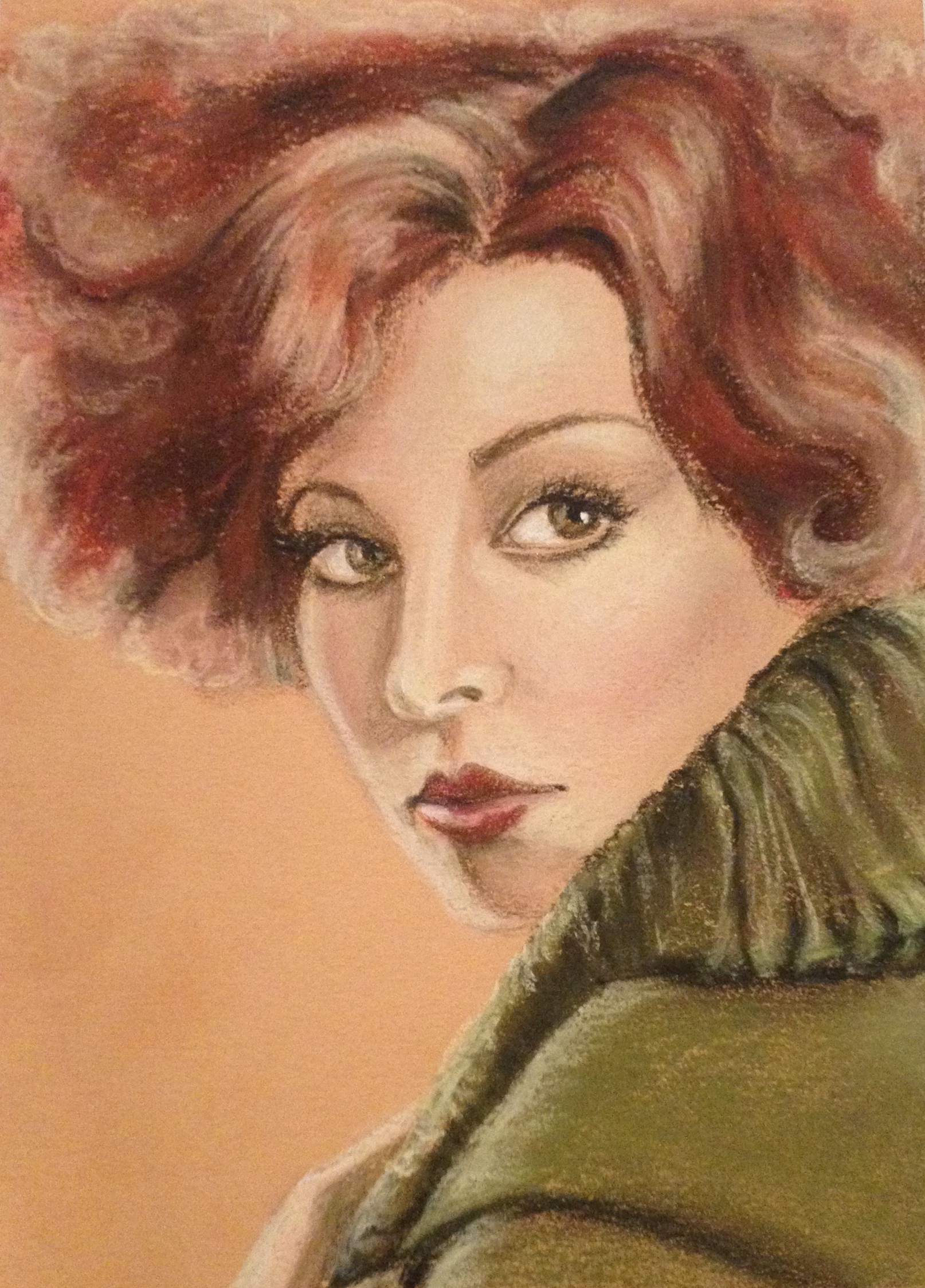 """1920's Clara Bow in the style of Bradshaw Crandall - pastels 5""""x7"""""""