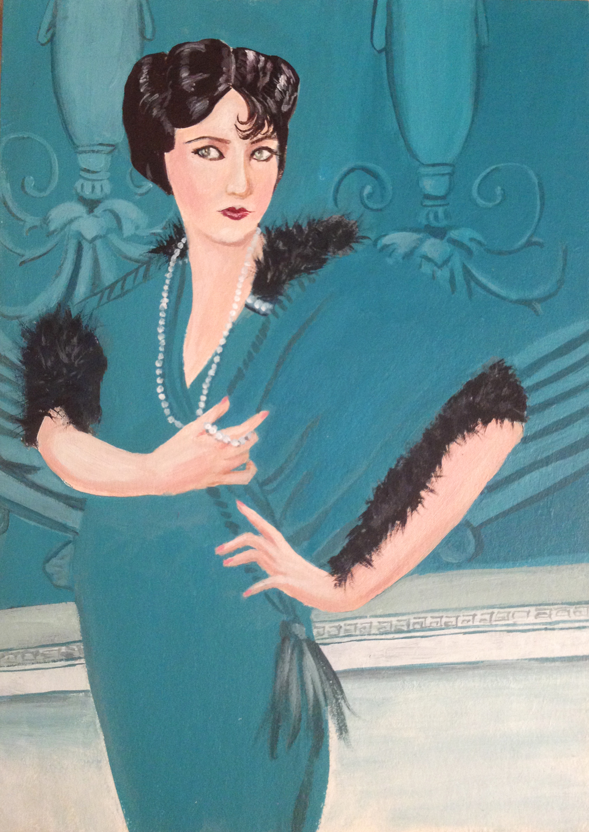 """1910's Gloria Swanson, in the style of Coles Phillips - Acrylic 5""""x7"""""""