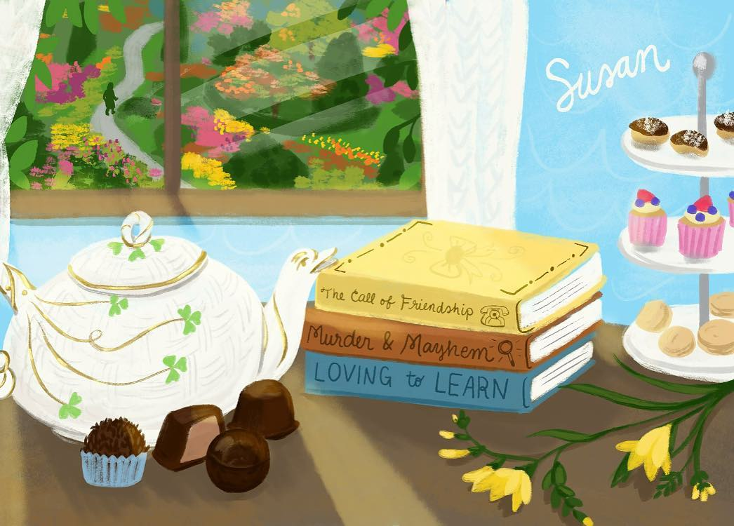 A piece for Susan, who loves reading, chocolates and other special things that are hinted at in this piece for her. I mix and match traditional or digital painting depending on the piece. This one is digital.