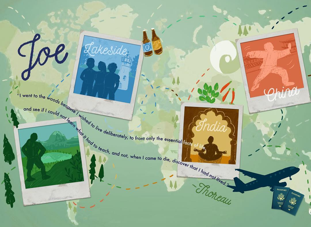 This tribute piece was for a younger patient at the RHH who has traveled the world and explored different cultures on his own and with family. This one is a digital piece.