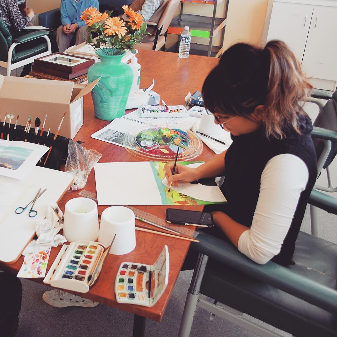 Hard at work in the Arts & Music room on the ward.