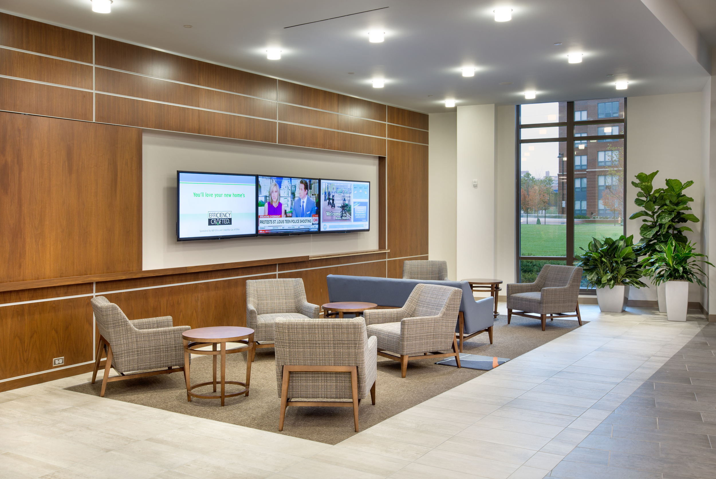 digital signage in lobby, NiSource