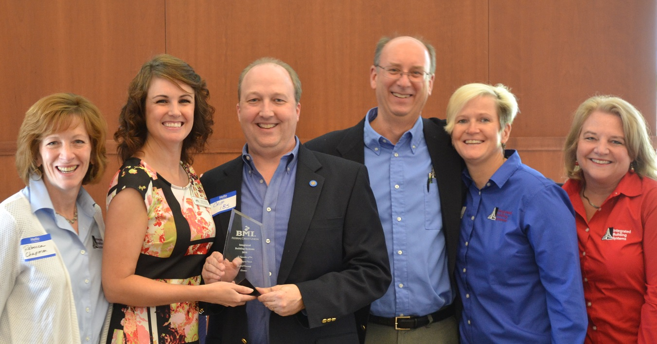 Pictured above (from left): Rebecca Chapman, IBS Marketing Manager; Sarah Borland, Director of Business and Community Development for BMI Federal Credit Union; Chip Chapman, IBS President; Bill Helland, IBS Vice President; Tanya Fisher, IBS Business Development Manager; and Tina Parsley, IBS Administrative Assistant.