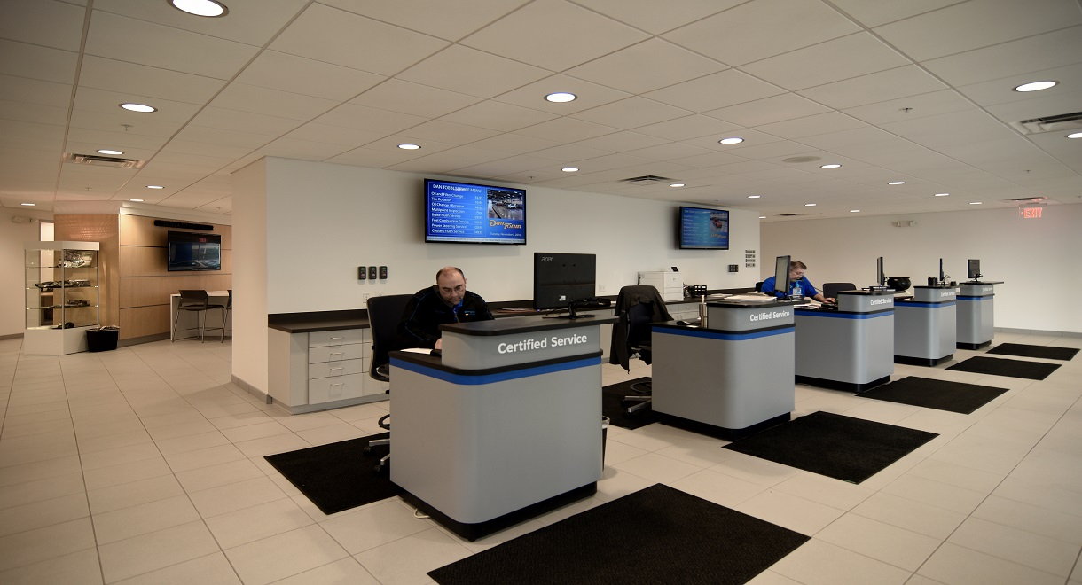Digital displays in the service area at the new Dan Tobin Chevrolet dealership (photos courtesy of Renier Construction)