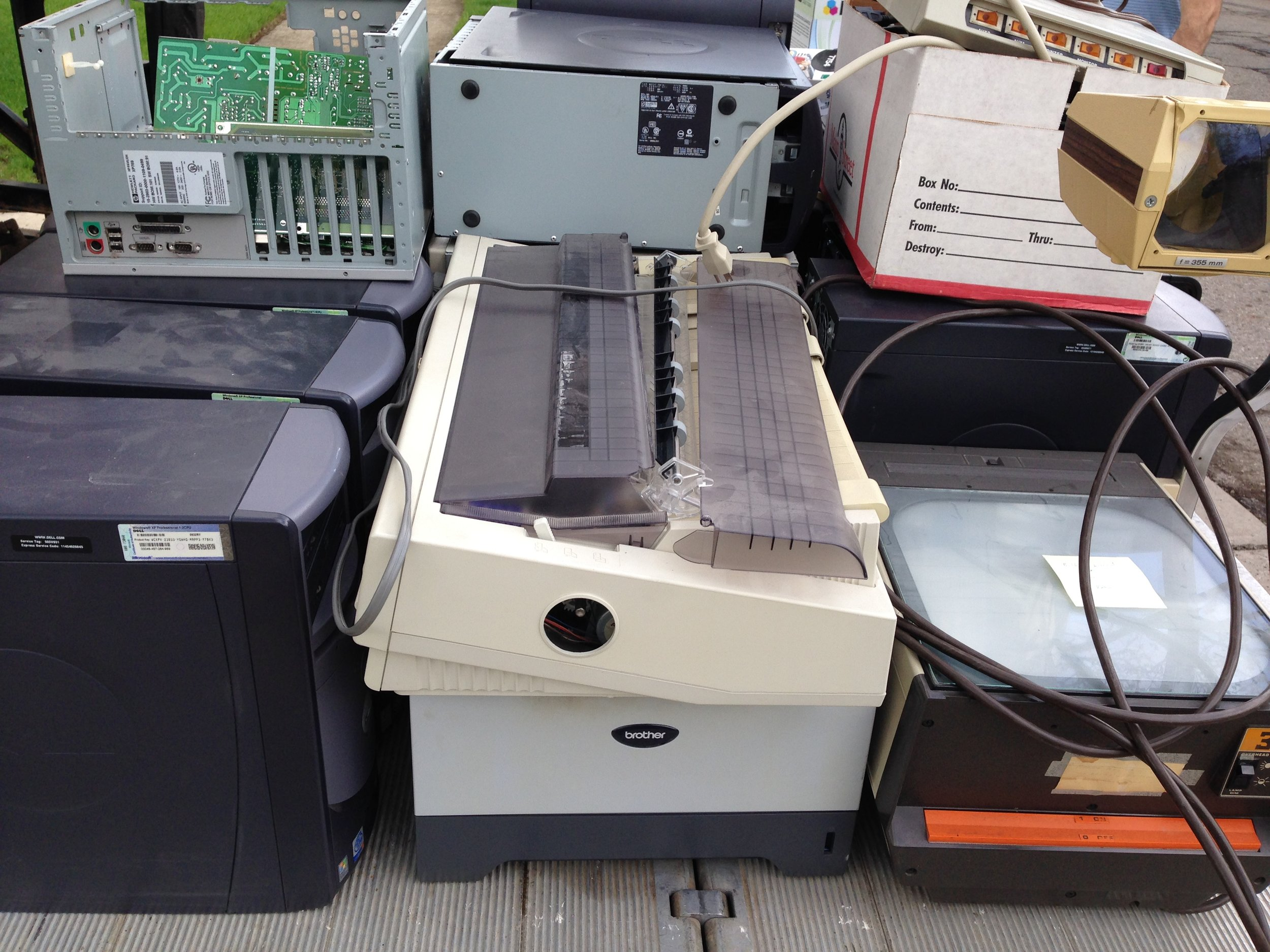 Electronic equipment collected at our 2016 drive included computers, printers, and even an old overhead projector!