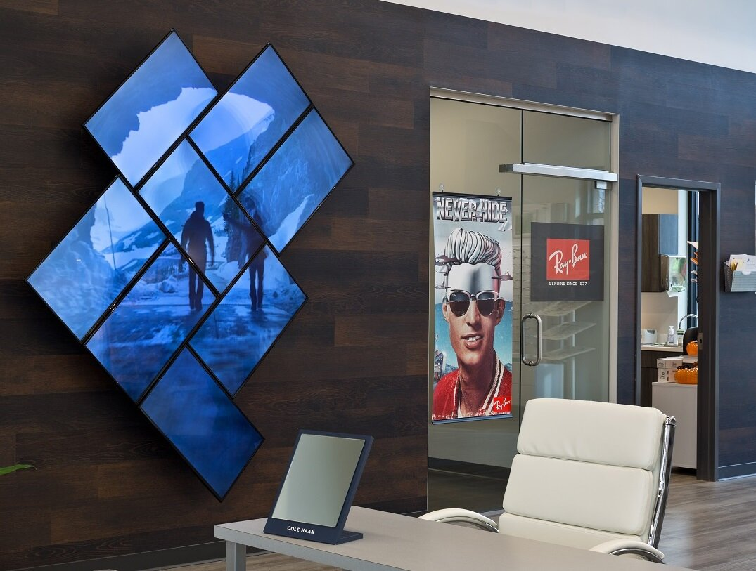 The screens in high-end video walls like this one at    Agnone and Morrison Eye Center    are exceptionally fragile, and even a gentle nudge with a ladder or cart can completely destroy them.
