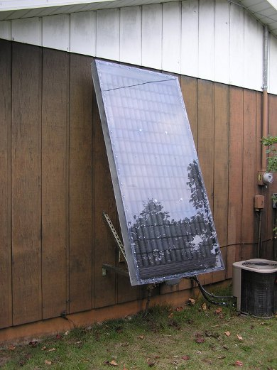 Recycled soda cans solar air heater