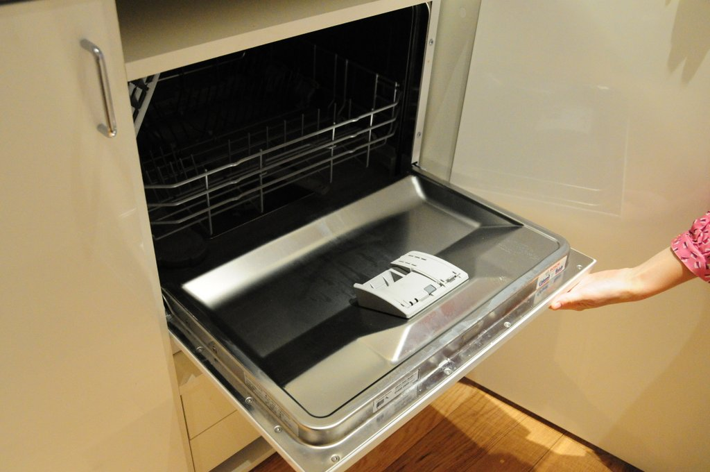 Interior of tiny dishwasher