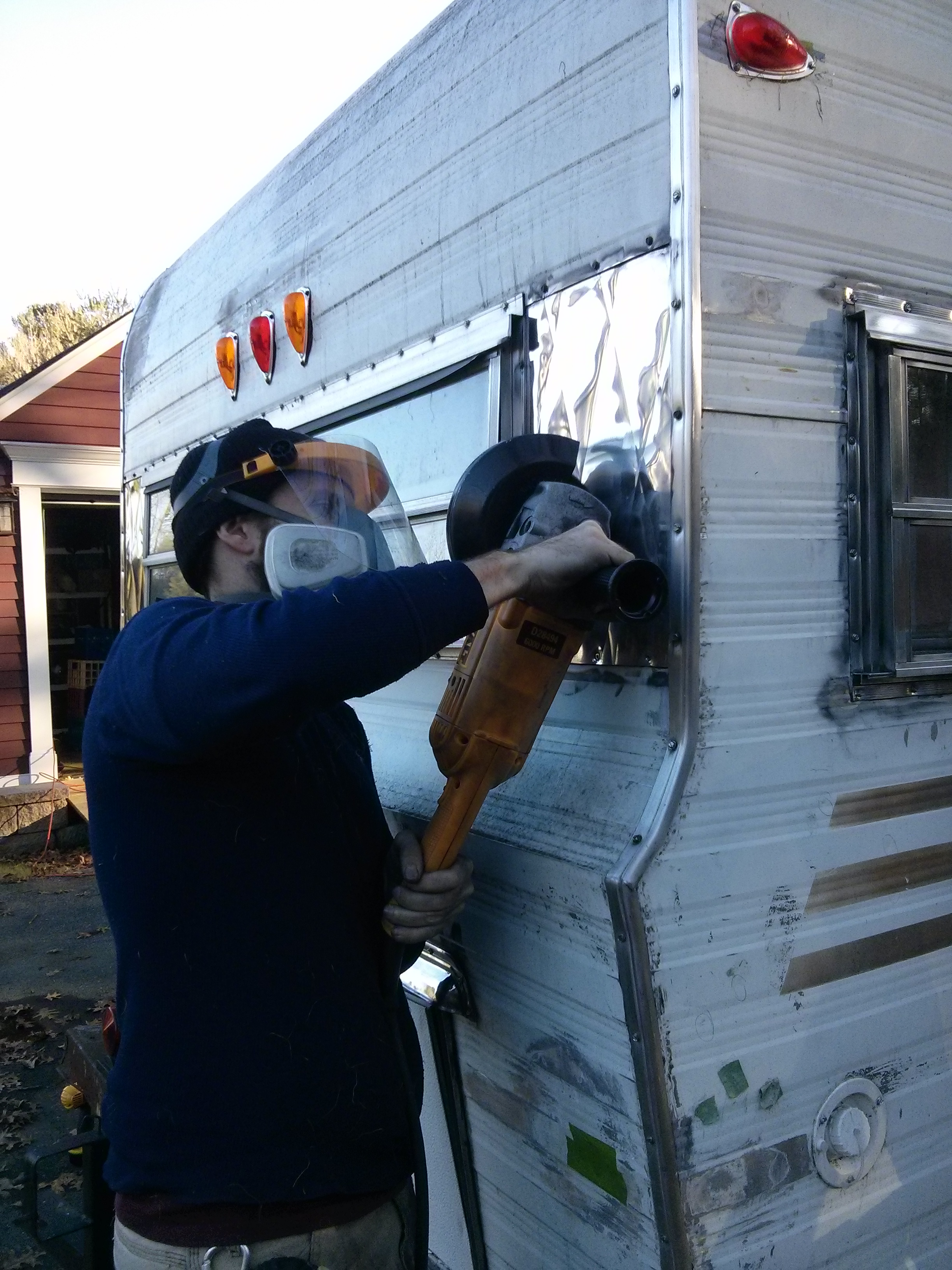 Dewalt Large Angle Grinder to polish the tarnished aluminum on the COMET back up to it's original mirror finish. Awesome!