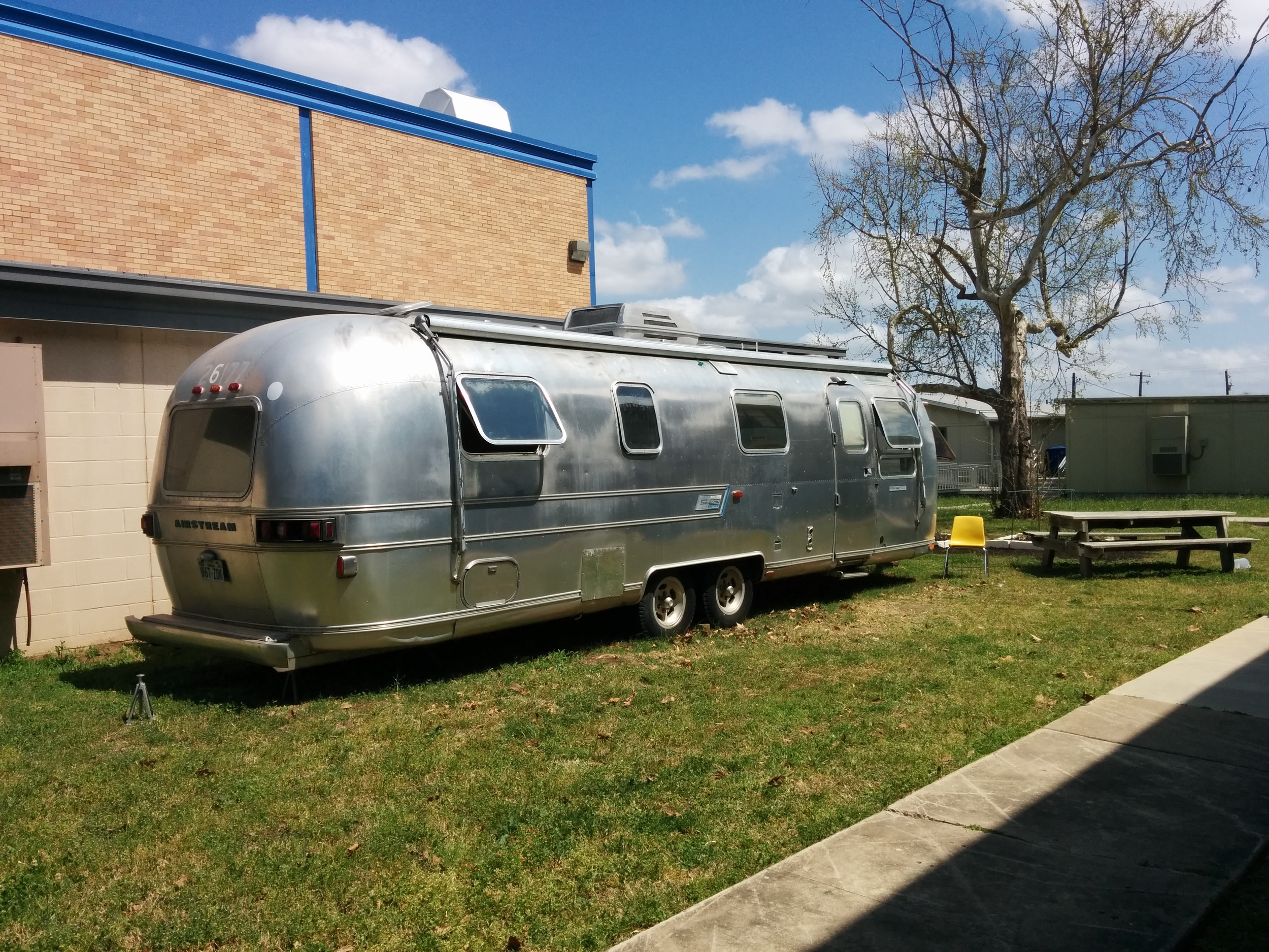 This is the Airstream camper (a 1977) that the class must renovate into a teacher's lounge. Right now it is completely gutted.