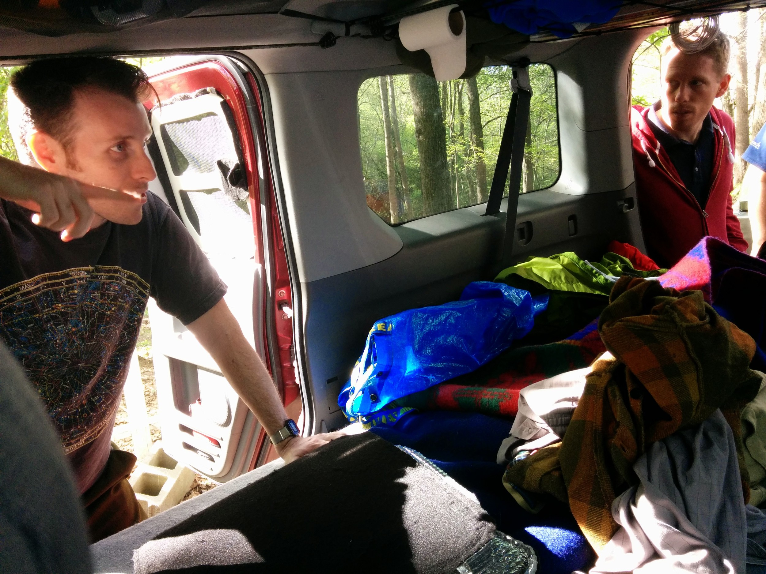 Giving a tour of our Honda Element micro-camper that we travel and live in while we're on the road for longer trips.