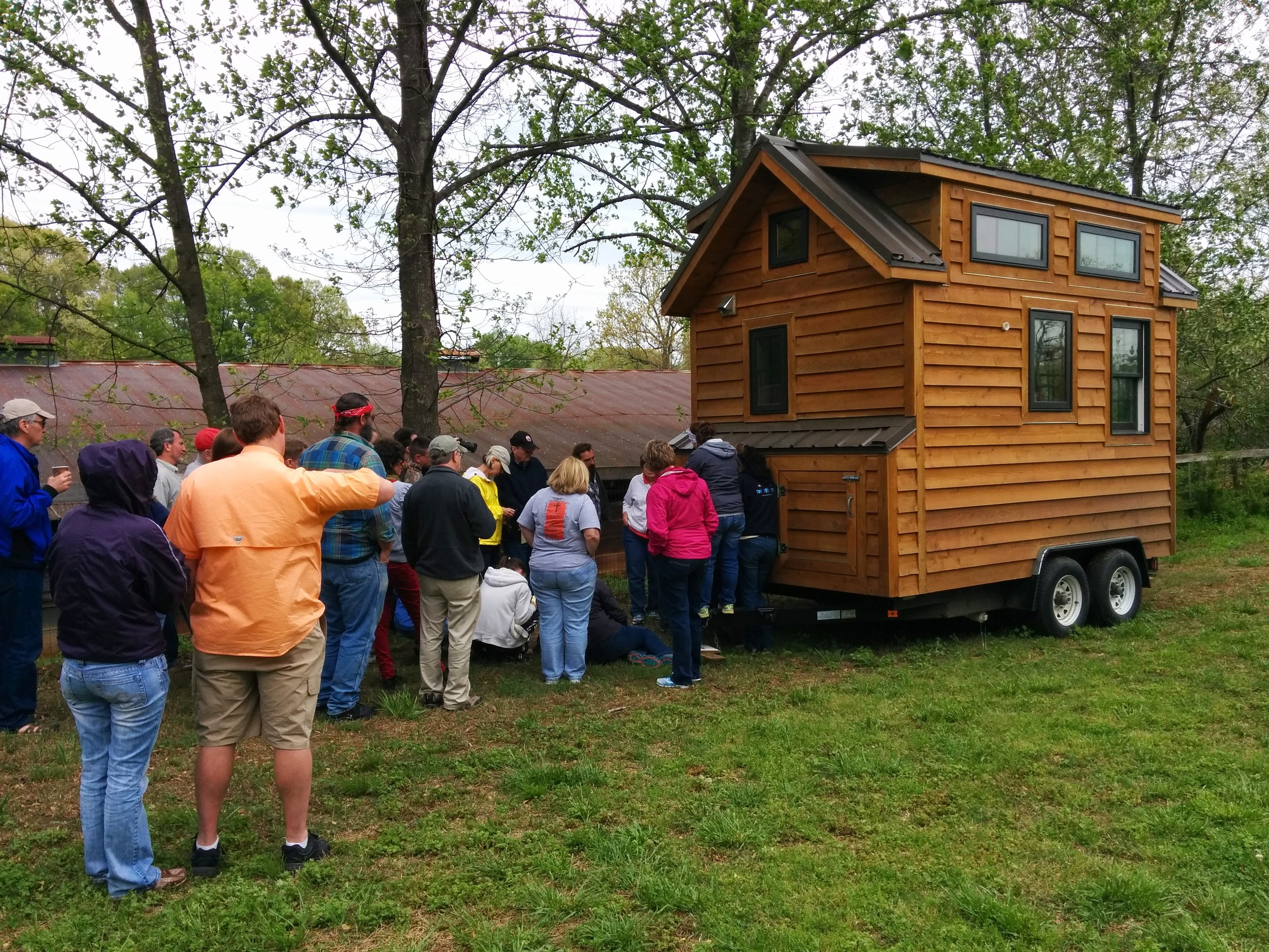 Dan gives everyone an inside look at how the electrical system in the tiny house is wired up and participants can see how everything works on a real tiny house.