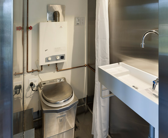 The incinerator toilet in the Minim home, photo from www.minimhomes.com