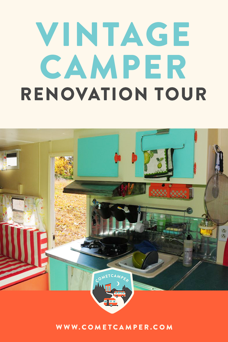 Tiny house inspiration! Take a look inside our vintage camper after a complete renovation. If you're looking to build your own tiny house from a vintage camper, you'll love this!