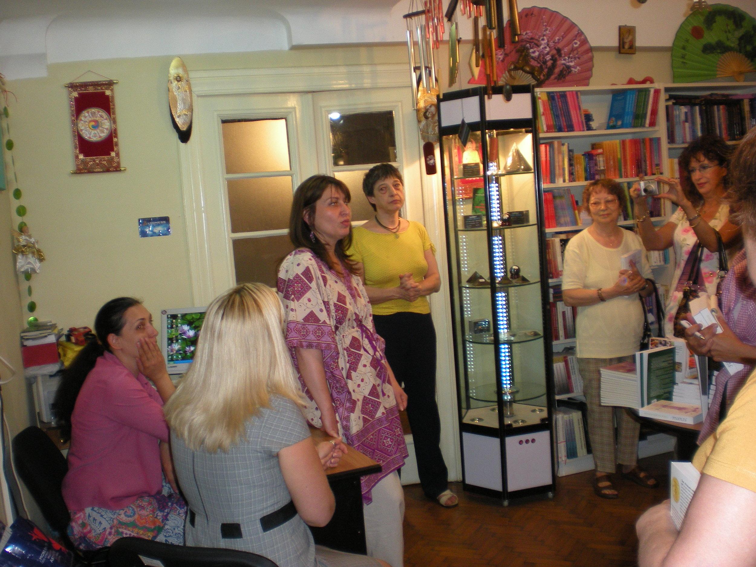 Tara during a book launch event in Romania