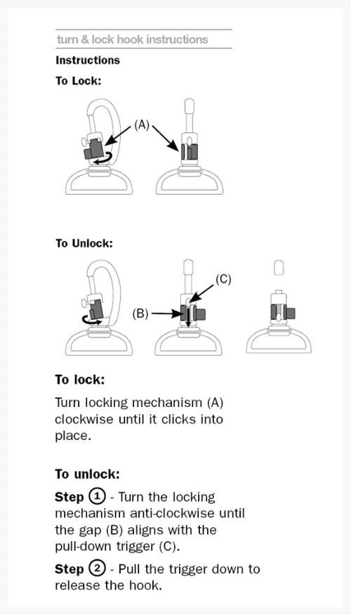 Turn and Lock Hook Security Instructions