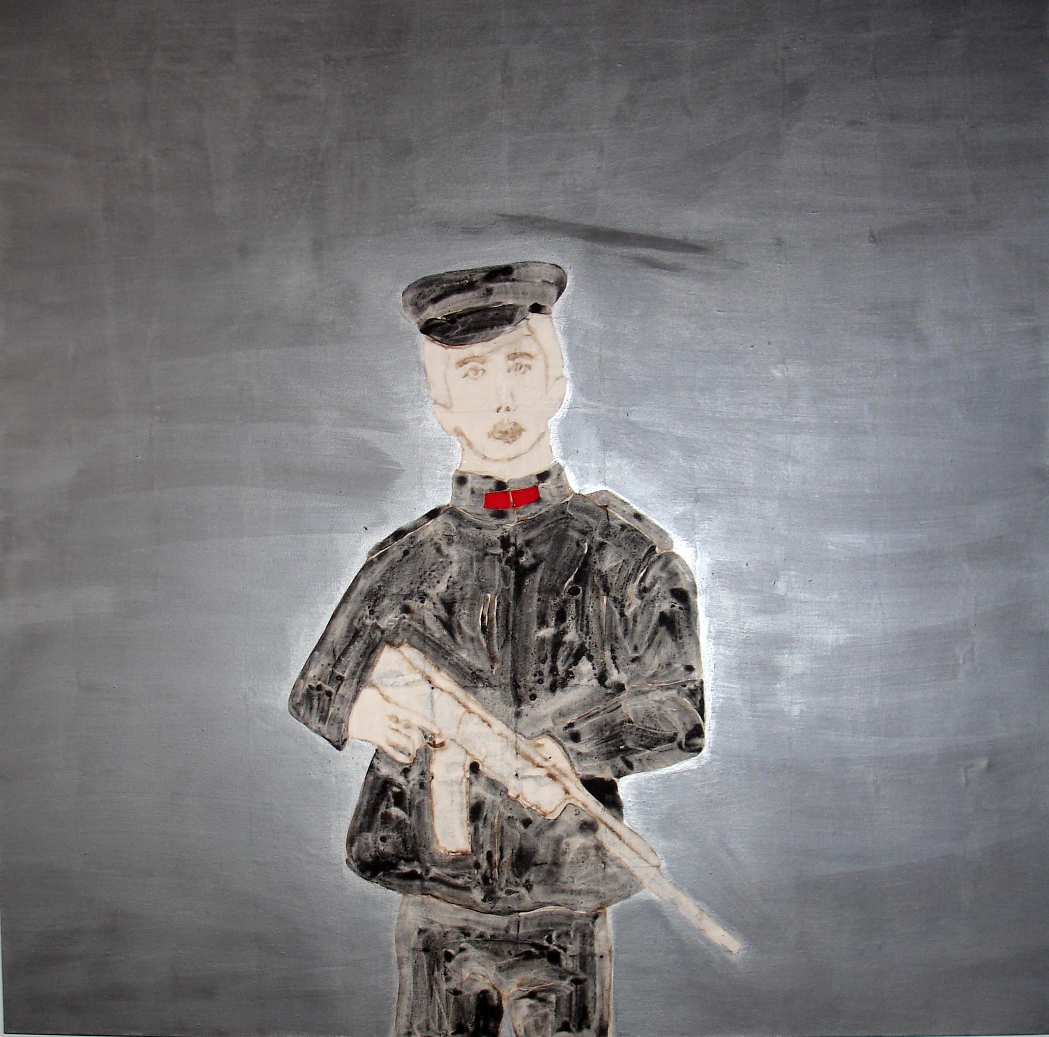 Petit Soldat III, 2009, Pigmentos s/lienzo, 120x120 cm    Little Soldier III, 2009, Pigments on canvas, 47x47 in
