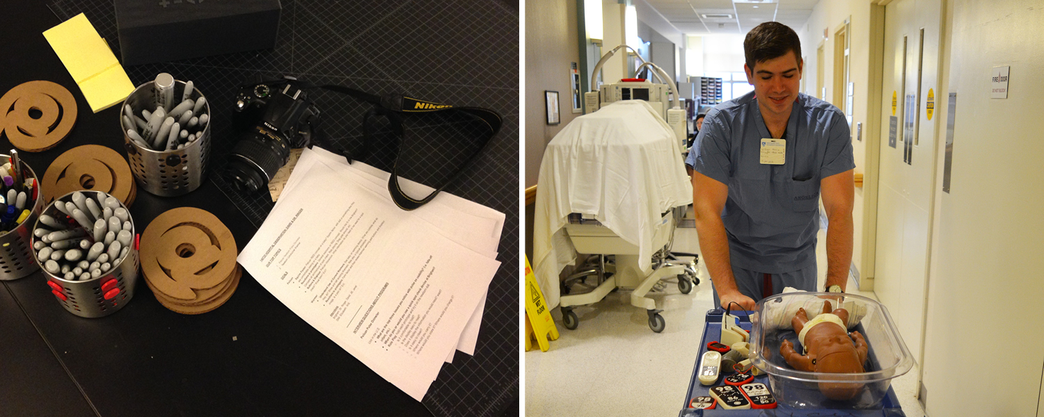 Left: Our research protocol and camera are ready to go. Right: Will Harris pushes our borrowed cart to display prototypes throughout the NICU at Brigham and Women's Hospital.