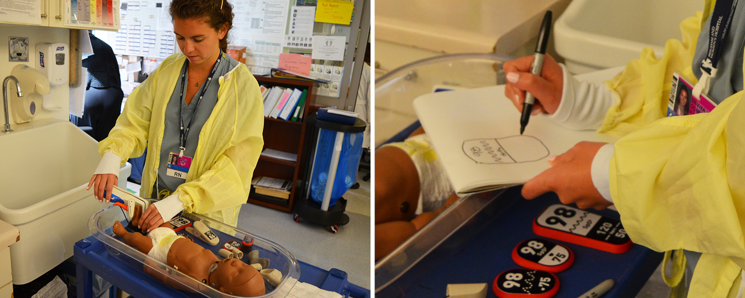 Nurse Briana Donnelly tries out the Pelican student prototype and then draws her desired display.