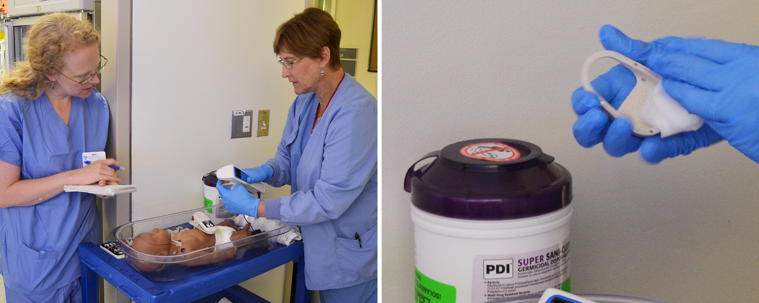 Nurse Karen Riedel tries wiping down the student prototype, and then the shoe prototype.