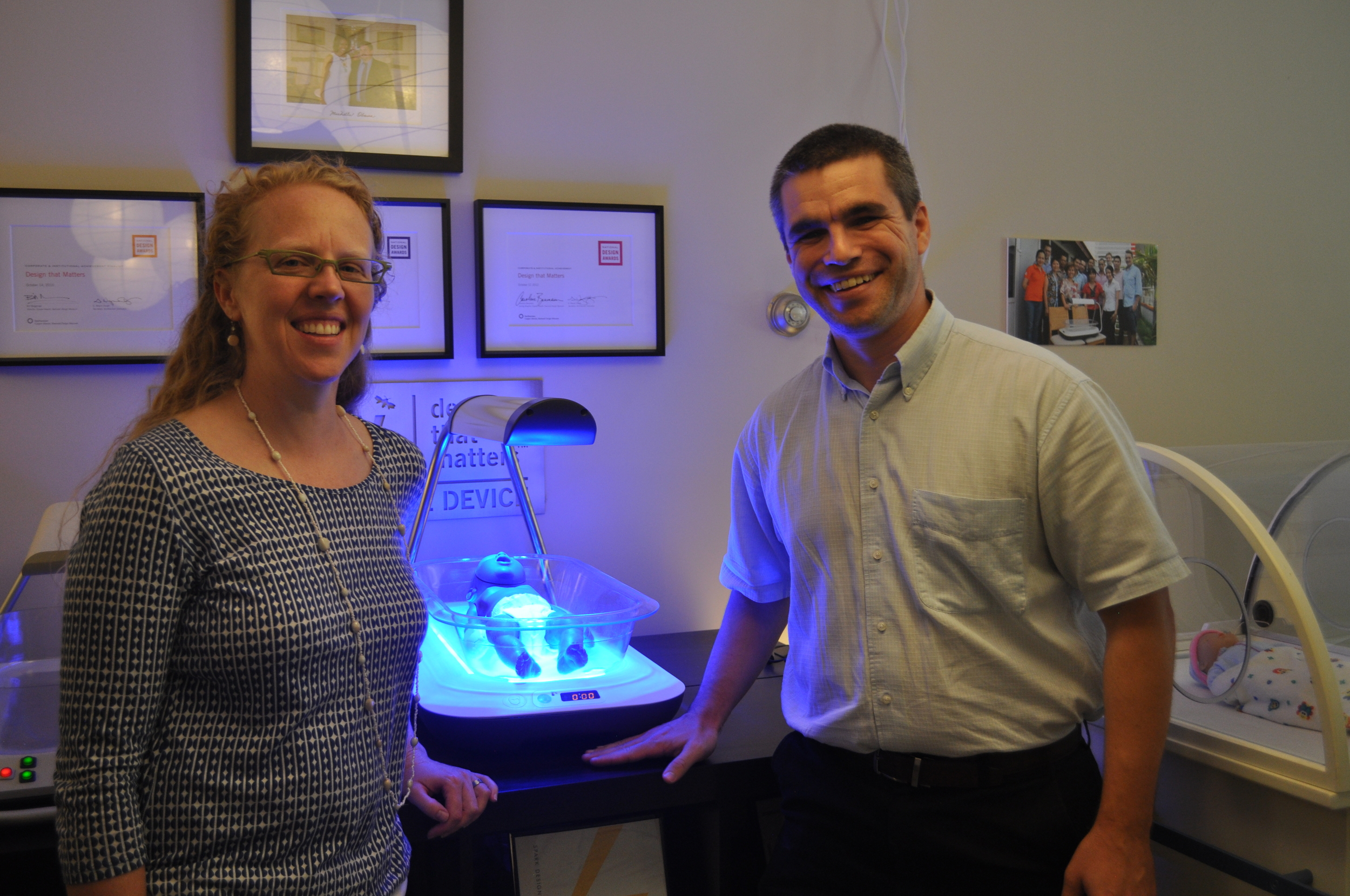 DtM's Elizabeth Johansen and Conor Shapiro, President and CEO of the St. Boniface Haiti Foundation, pose with Firefly. Haiti is the ninth country to receive Firefly devices.