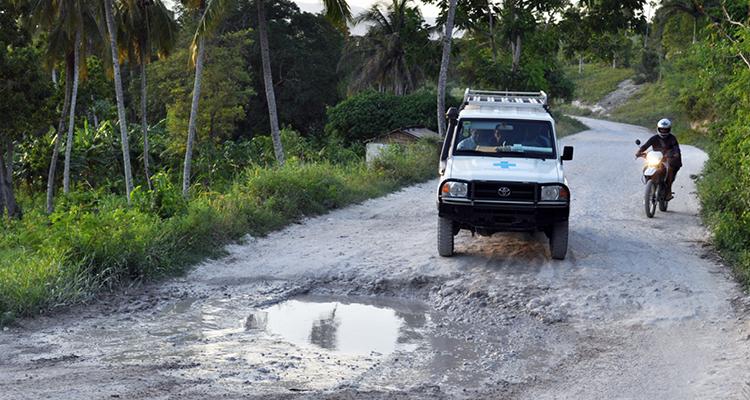 One of few ambulances travels the road to Saint Boniface Hospital.