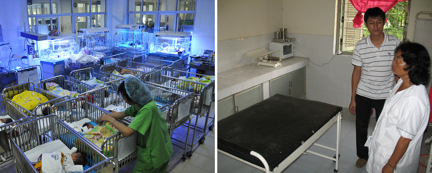 Left: One of nine rooms with 150 newborns at the Neonatal Intensive Care Unit in National OBGYN Hospital, Vietnam. Right: A midwife shows all the equipment she possesses at Tonlebaty, a rural clinic in Cambodia.