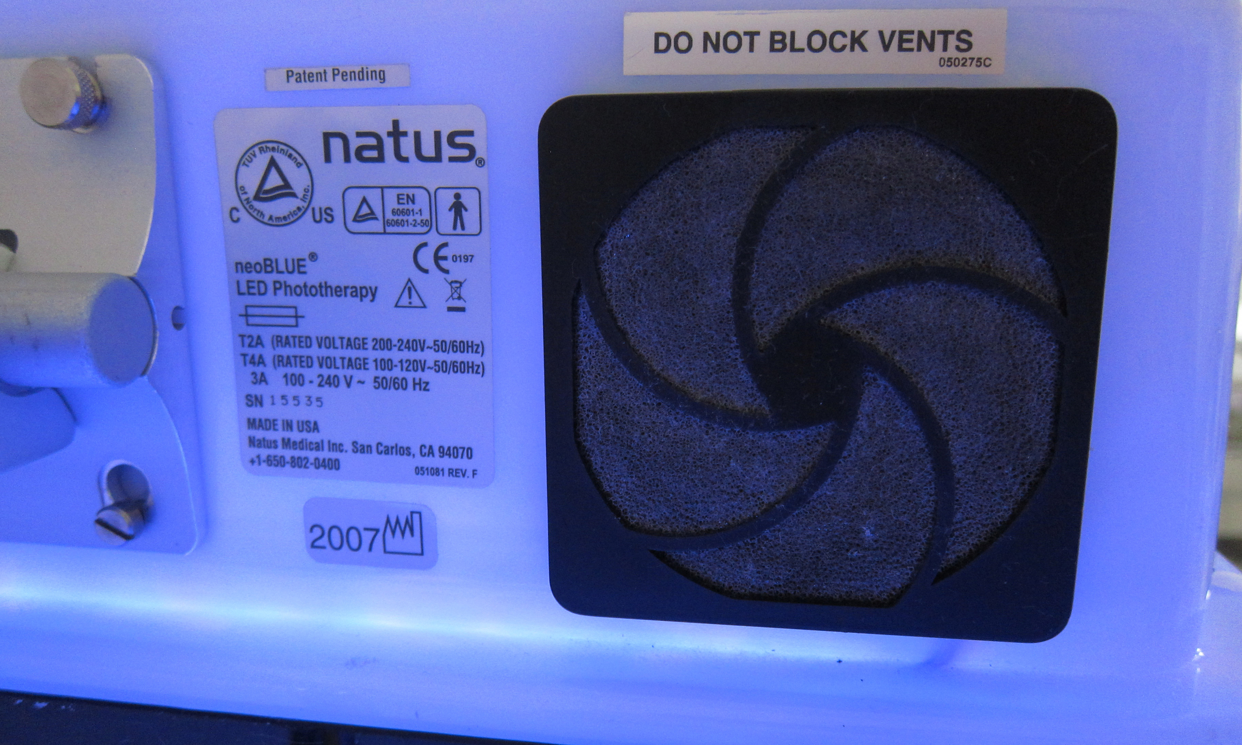 The vent for the Natus NeoBlue LED Overhead Phototherapy, one of the most popular phototherapy devices used in the United States. An internal fan helps move air through this vent to cool the electronics.