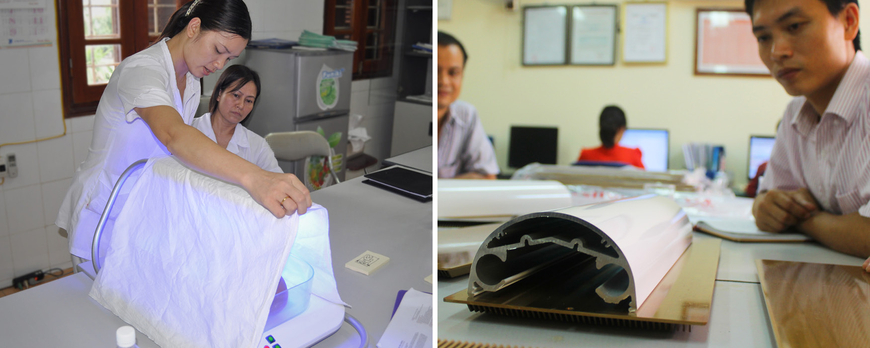 Left: A nurse uses our alpha prototype to show how she would drape Firefly to keep the light from bothering bystanders, and to keep the baby warmer. Right: The resulting top light is made of thick metal to ensure heat can escape even when draped.