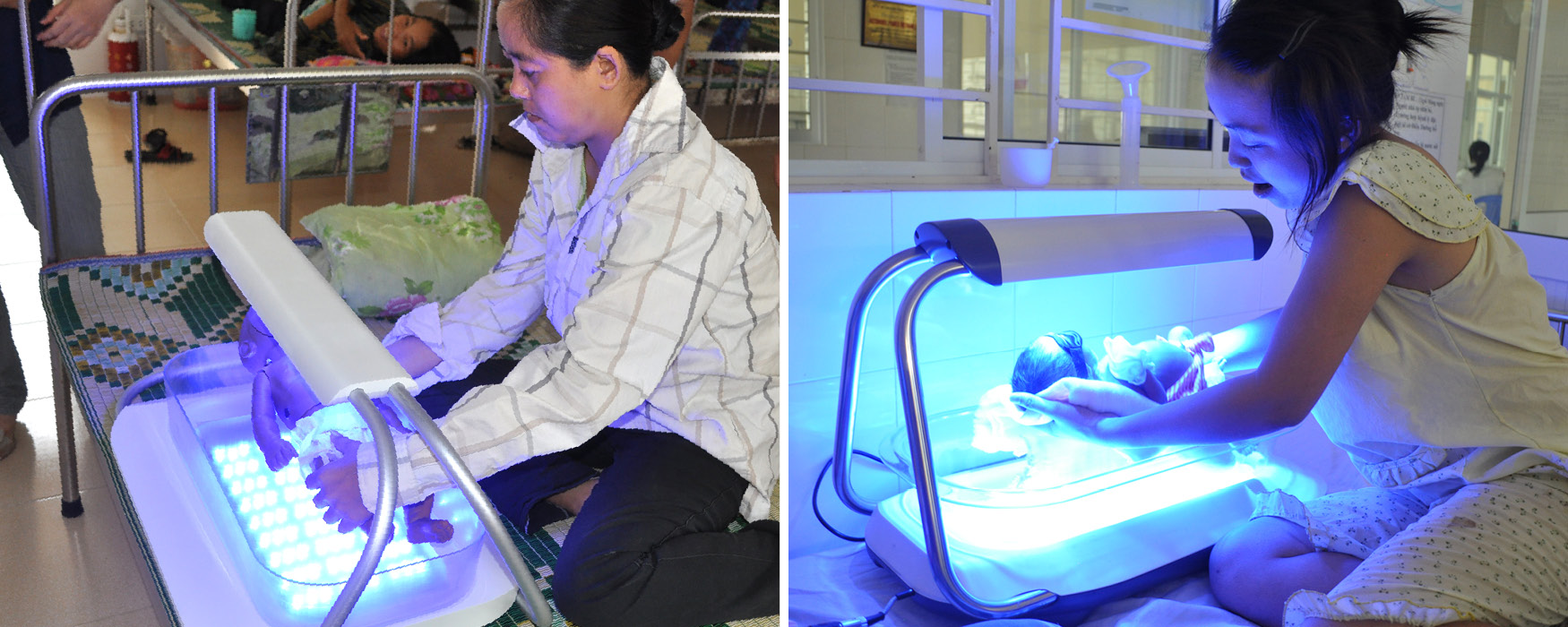 Left: A mother bumps the baby doll's head while lifting it out of the alpha prototype. Right: A mother safely and comfortably lifts her baby in and out of the final Firefly device with raised top light.