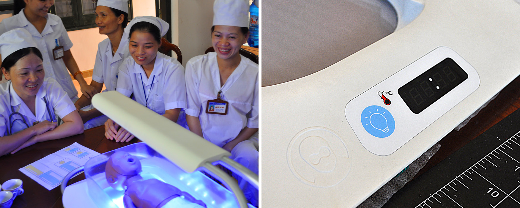 Left: Healthcare providers in Vietnam consider an array of different button option on paper. Right: The resulting simple, one-button Firefly control panel.