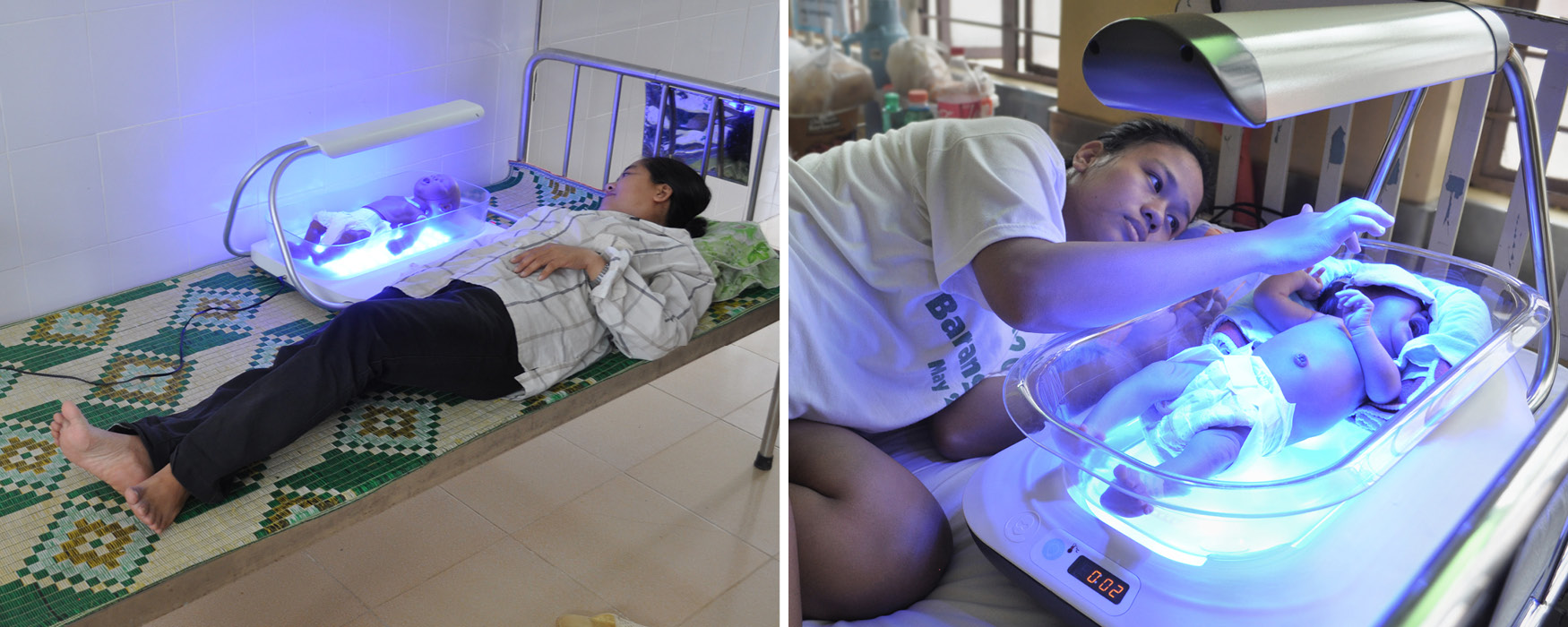 Left: A mother provides positive feedback while lying next to the Firefly alpha prototype in bed with the light turned on. Right: In the Philippines, the first mother and baby benefit from treatment in mom's room.