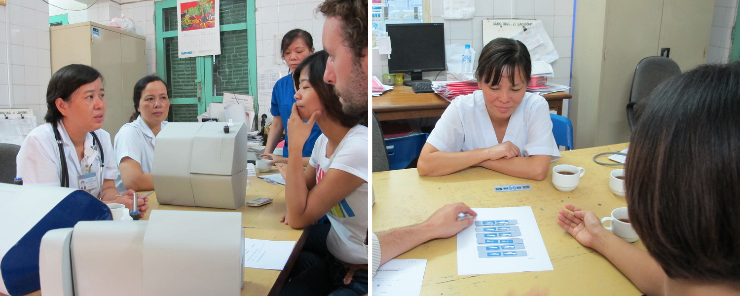 MTTS and East Meets West staff interview healthcare providers in Vietnam about CPAP using rapidly-created form models and paper print-outs of buttons. Images courtesy MTTS.