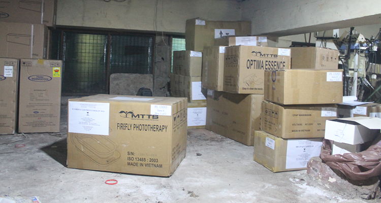 A container of  MTTS  equipment arrives for East Meets West's installation in Ghana. Photo courtesy Thrive Networks.