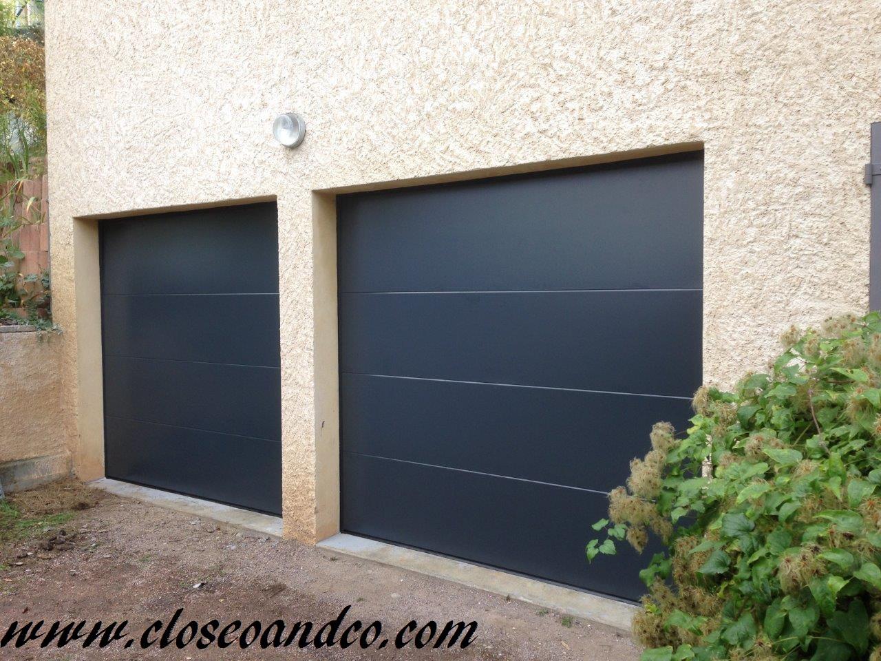 Portes de garage sectionnelles, panneaux lisses, Gris Anthracite RAL 7016