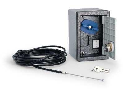 Boîtier de sécurité avec poignée de déblocage et bouton de commande pour déblocage à câble L = 5m (Uniquement pour automatisme à bras articulés)   Prix : 136.08€TTC (TVA à 20%)(Livraison Offerte)