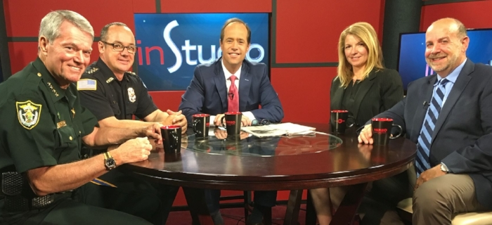 "Dr. Richard Hough (far right) and Dr.Kimberly McCorkle were recently part of a panel for the taping of inStudio with host Jeff Weeks. Escambia County Sheriff David Morgan and Pensacola Police Chief Tom Lyter. The group discussed ""Law enforcement in a tech-savvy world."""