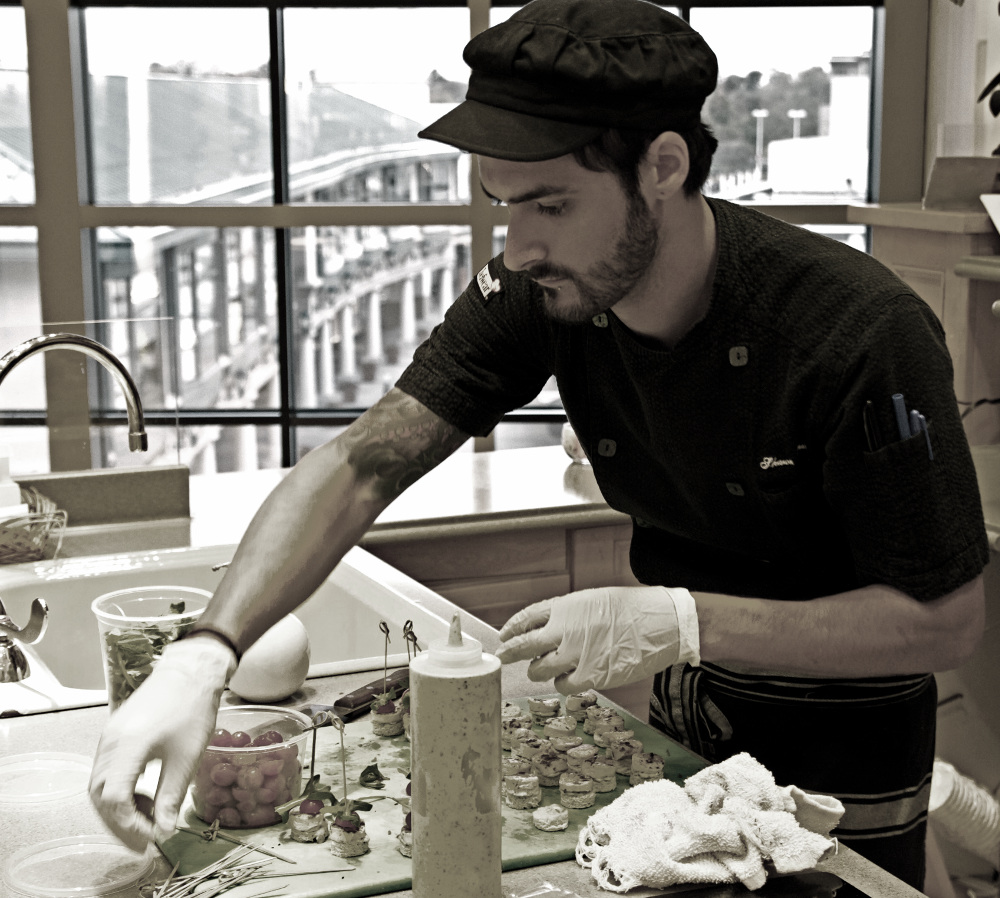 Chef Shawn prepping at Bloomies Old Orchard for their annual  Registry promotion