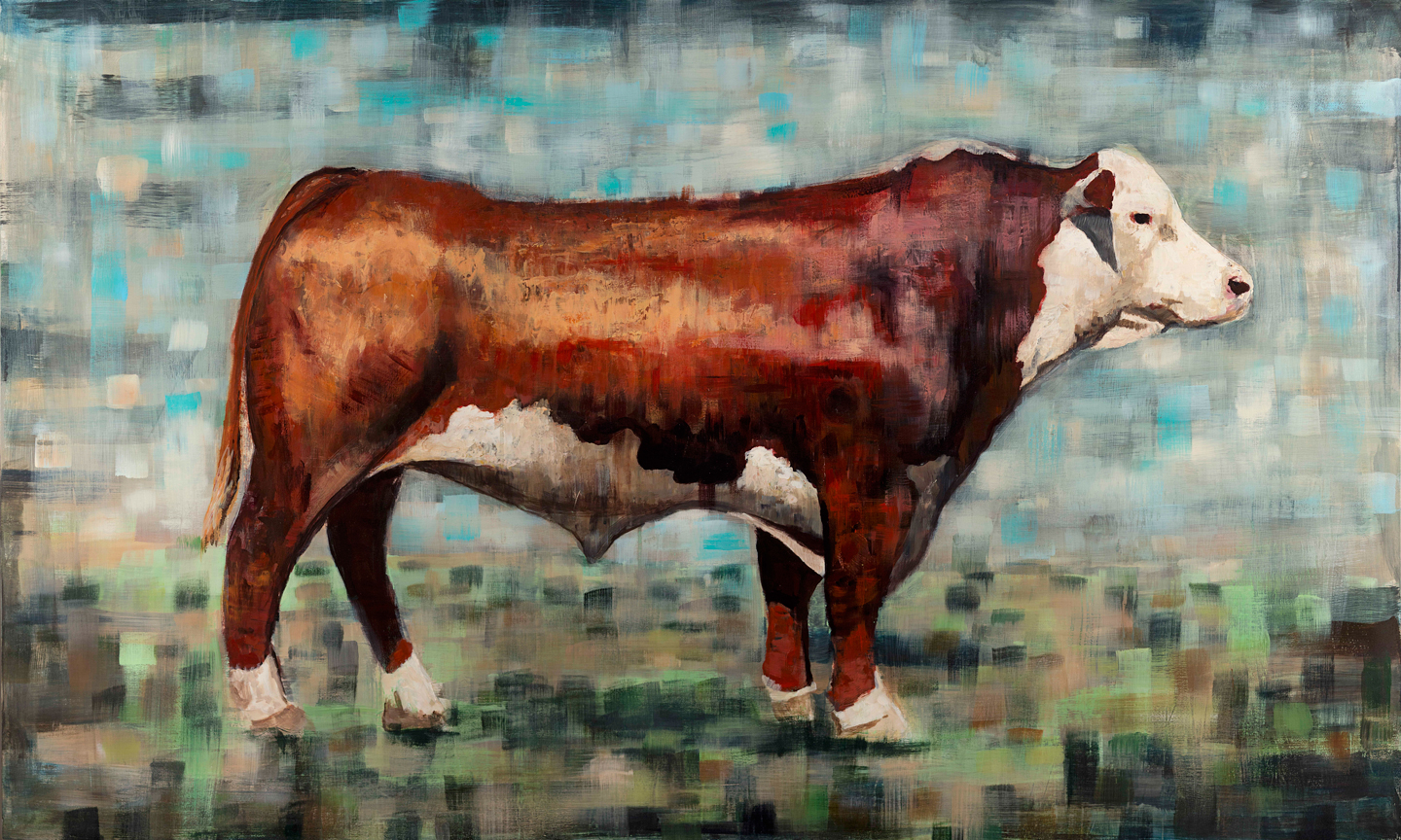 """Hereford Bull""  36""x60"" acrylic on panel"