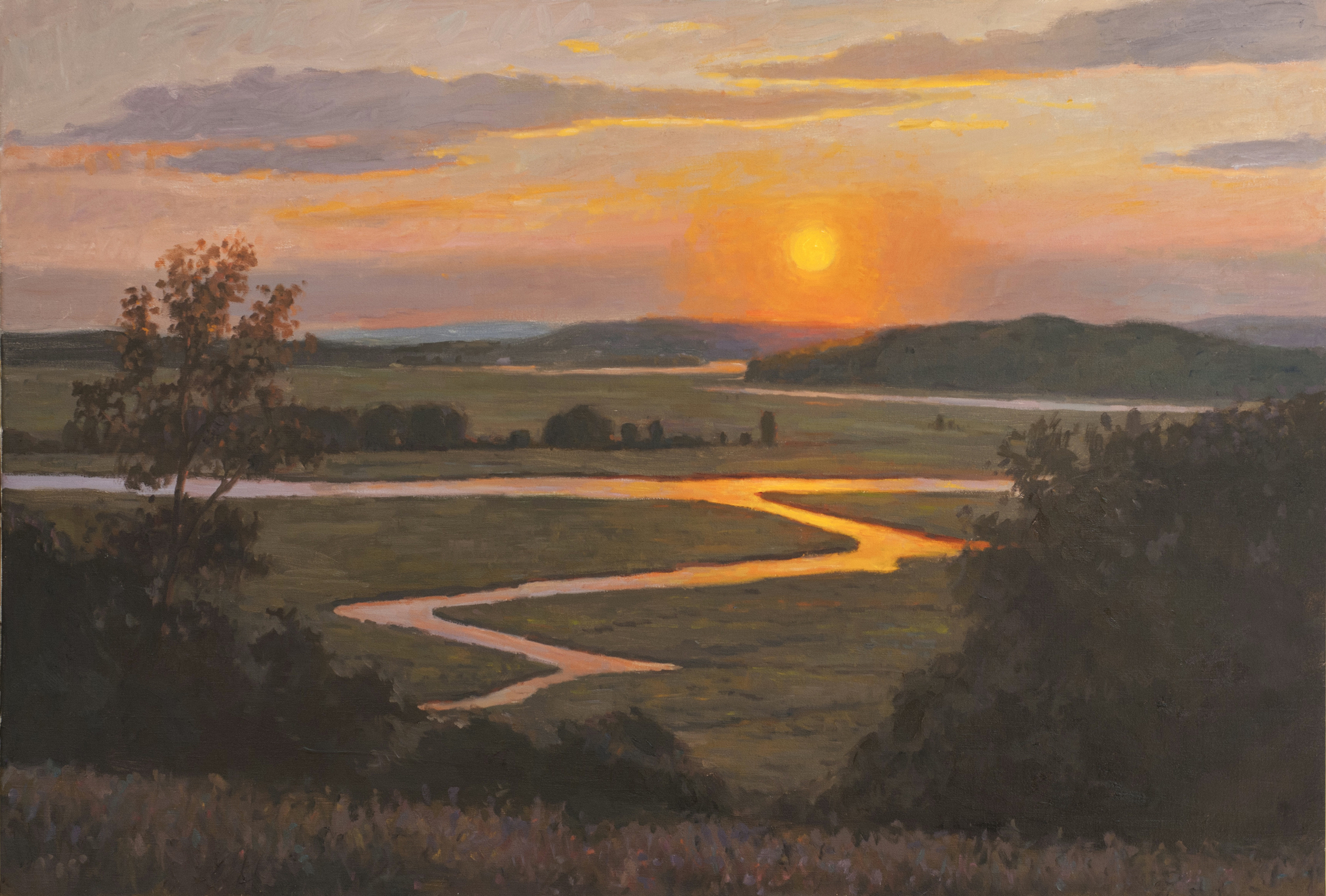 Sunset Marsh View, Oil on linen, 24 x 36 inches. [sold]
