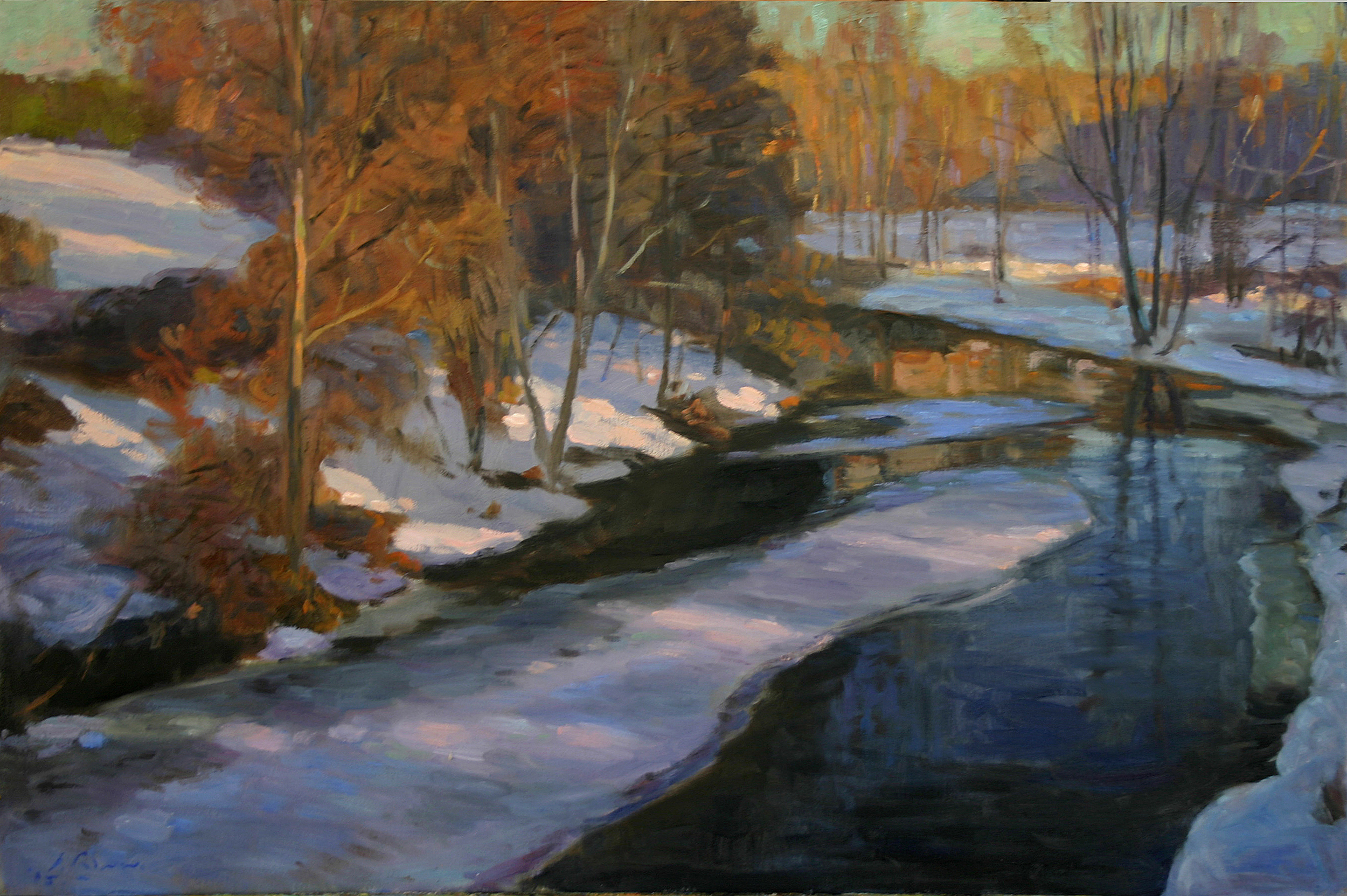 Winter Stream, Oil on canvas, 24x36 inches. [sold]