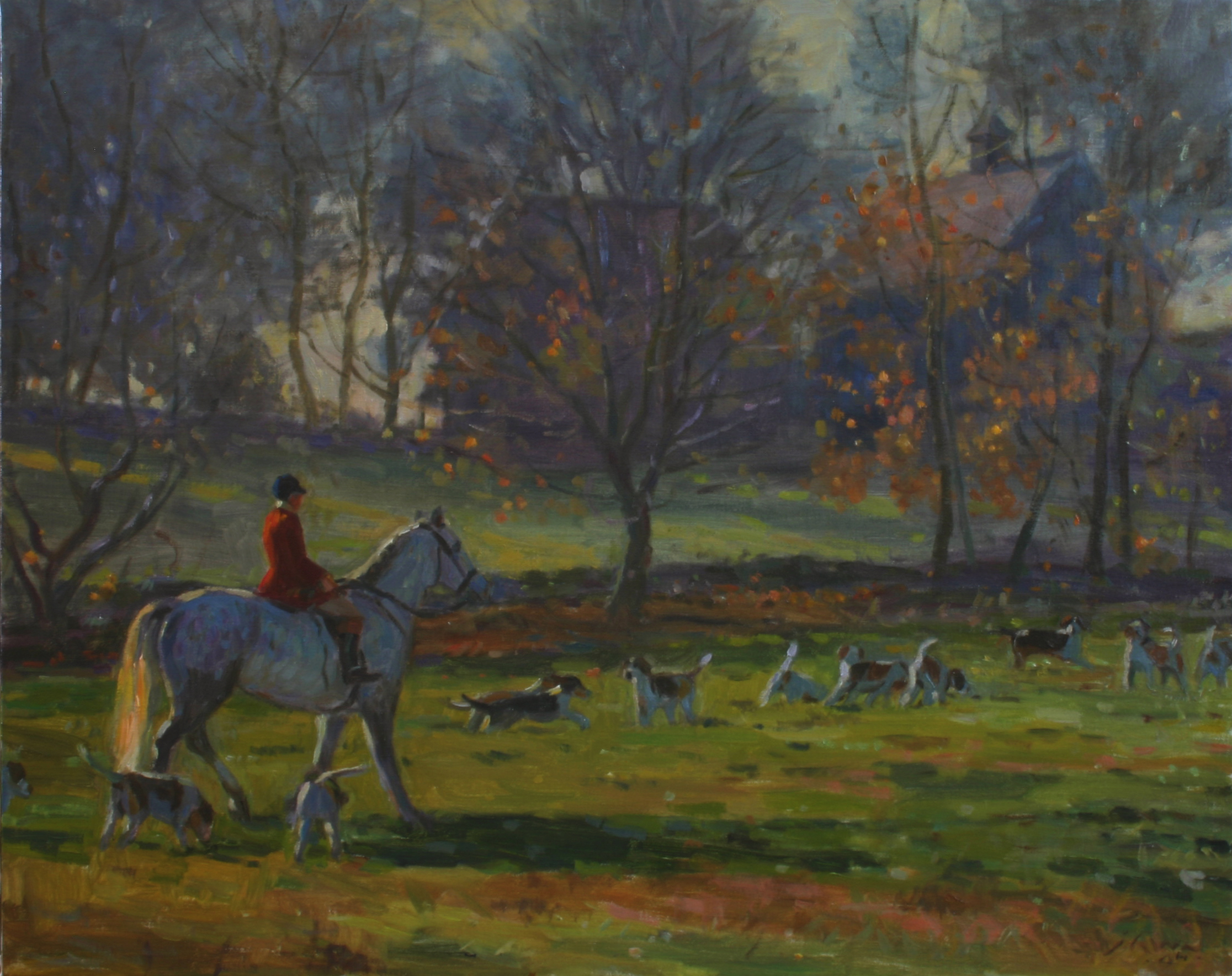 Huntsman with Hounds, Oil on canvas, 24 x30 inches. [sold]