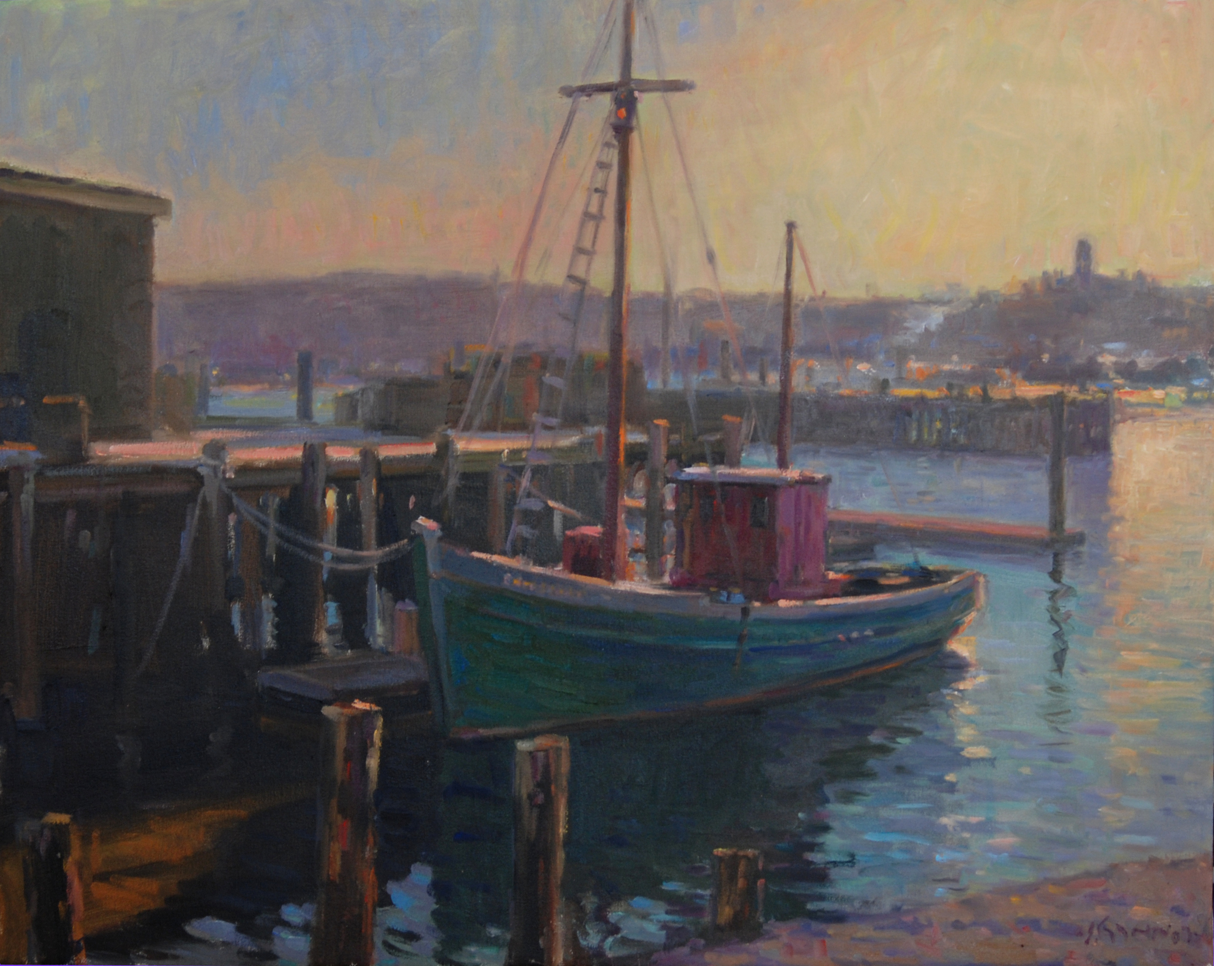 Old Sail in the Harbor, Oil on canvas, 22x28 inches. [sold]