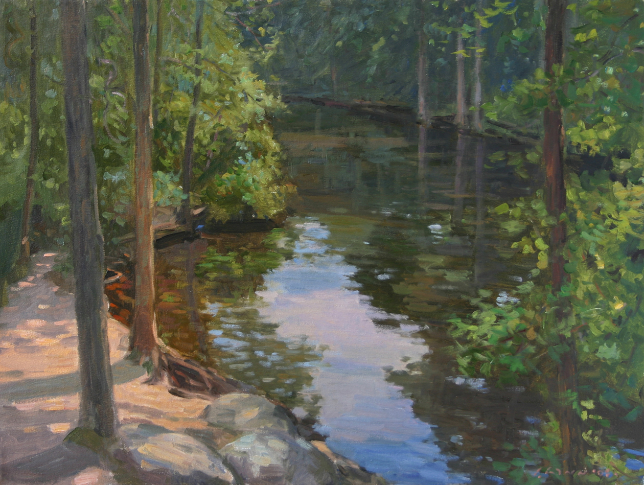 River Reflection, Oil on canvas, 18x24 inches.